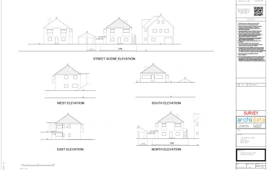 The data we gathered was used to produce all round elevations, as well as a street scene elevation.