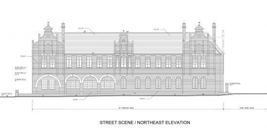Detailed elevation from a measured building survey for City College, Brighton, East Sussex
